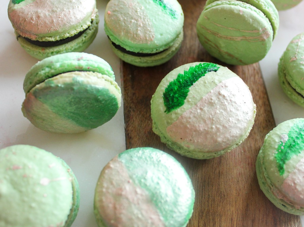 macarons with leaf and rose gold