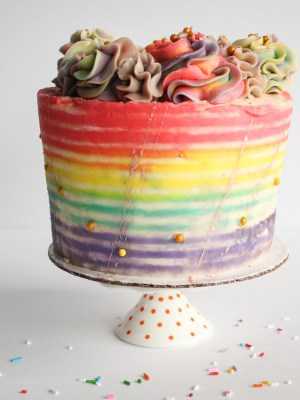 Cake Details: Rustic Rainbow Striped Cake