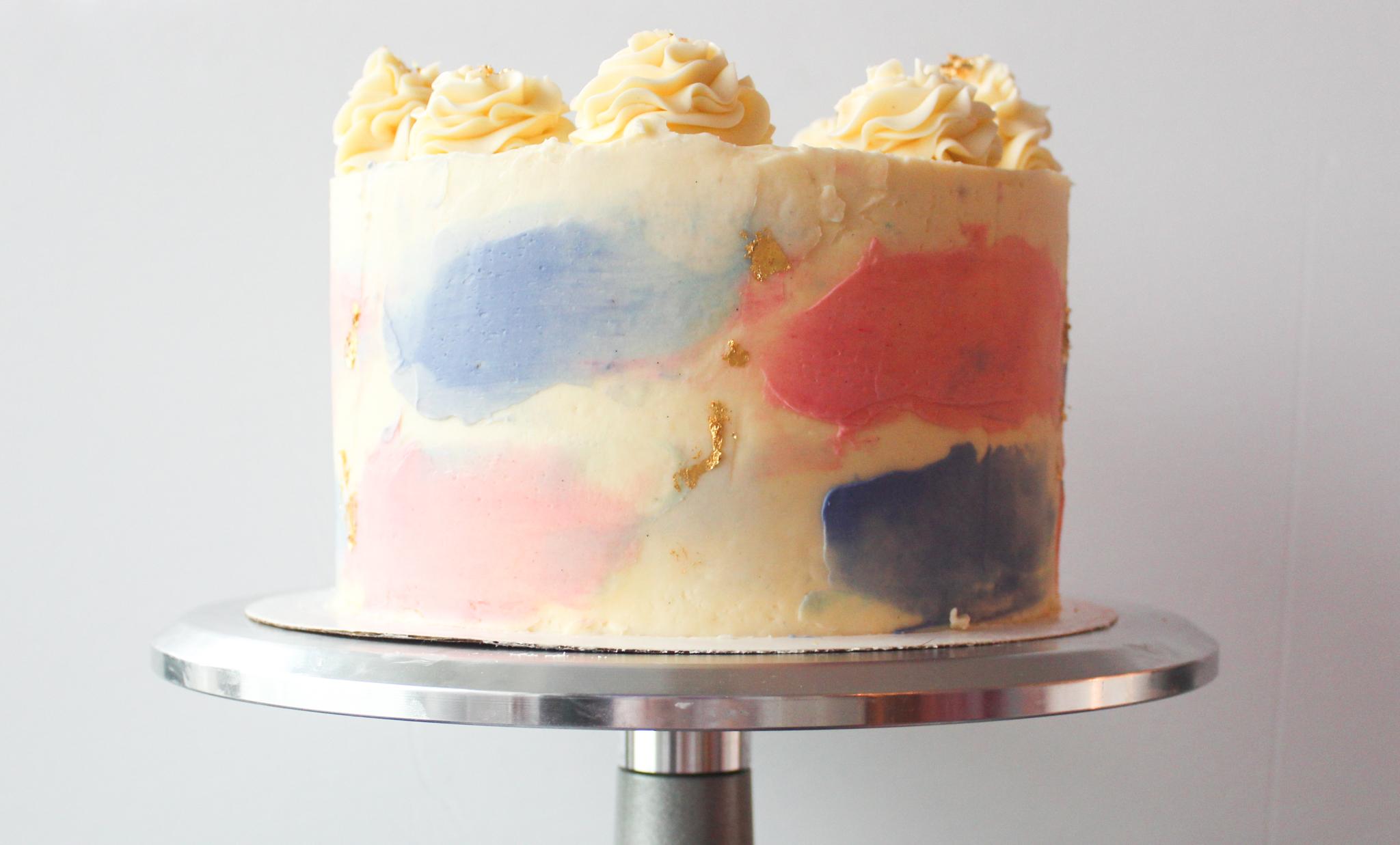 Cake Details: Gender Reveal Watercolor Surprise Cake