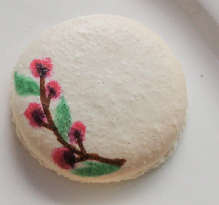 hand painted floral macaron step 4