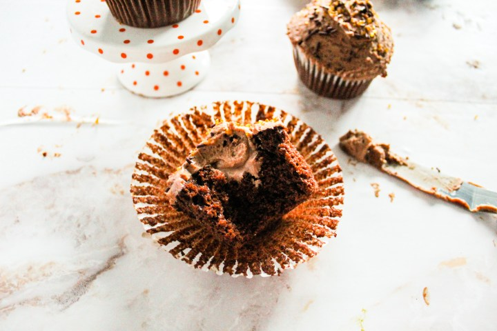 chocolate mousse filled cupcakes cut open