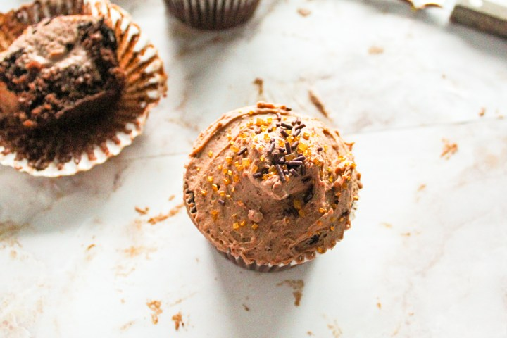 chocolate mousse filled cupcakes top view