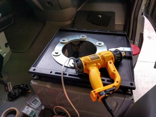 CTA swivel installed on passenger seat base