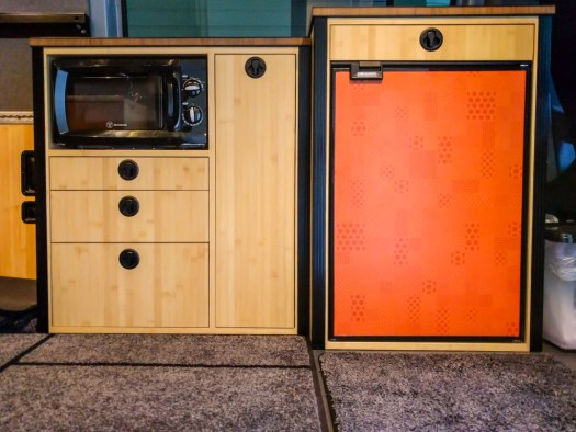 Microwave, pantry and fridge cabinets