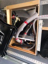 Hot water heater in place - it's a tight fit!