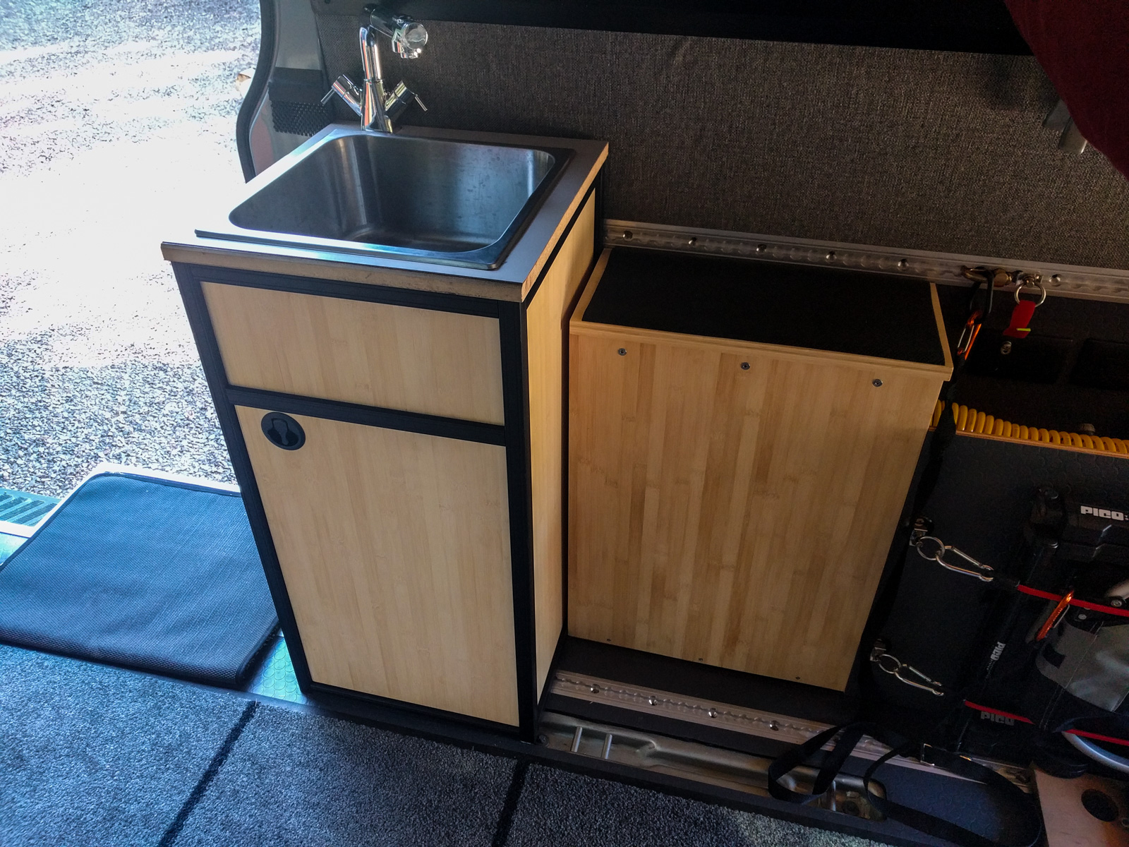 Sink cabinet built from 80/20 aluminum extrusion
