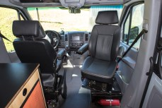 Passenger seat swivels to make more usable living space