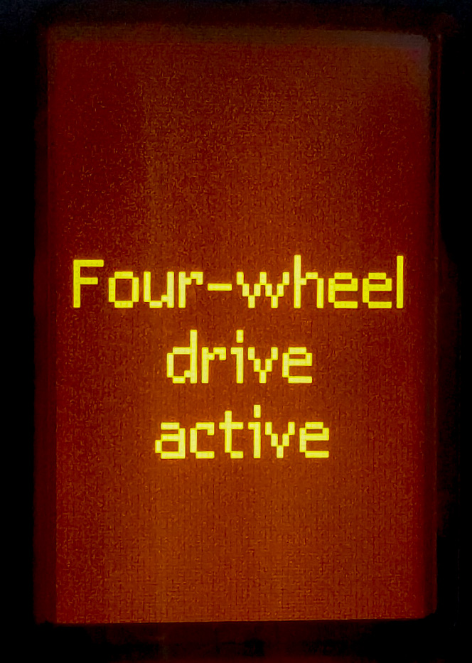 Four wheel drive active!