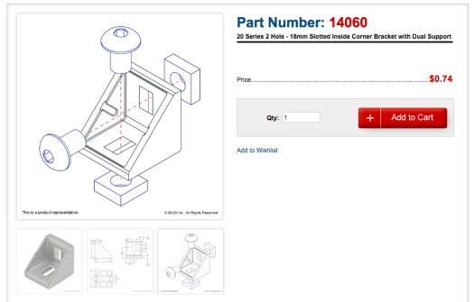 8020 inside corner bracket