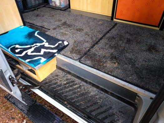 Absorbent floor mats catch mud, pine needles, water