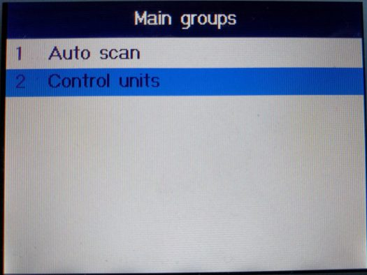 You can automatically scan with the MD802, or drill down into specific control units
