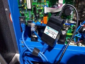 Plugging in the MK2-USB cable to a MultiPlus inverter