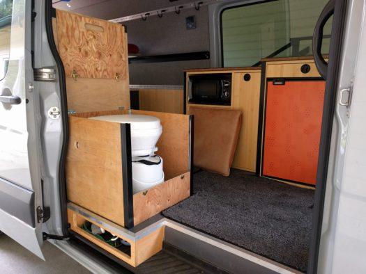 Composting toilet in the van
