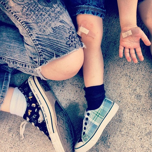 Converse, Vans, Siblings, and Bandaids #life #kids #summer #shoes #sneakers #tennisshoes #feet #booboo #ouchie #toddler #shoes