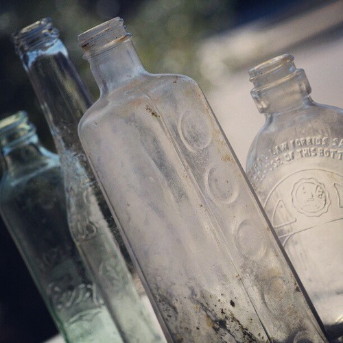 Old bottles and newer pop bottles, some dirty inside (unable to get them entirely clean)