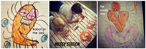 Portable Messy Station on the Floor - preschool learning areas for busy homeschool families at sprittibee.com