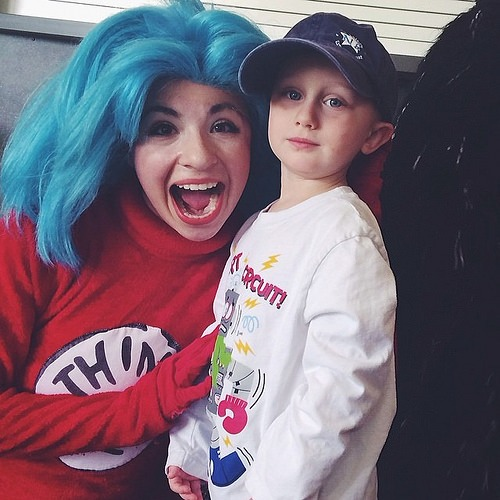 My 'Thing 4' meets Thing 2 after seeing Cat and the Hat Live at ZACH Theater in Austin (so cute!)