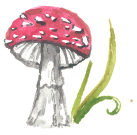 sprittibee's red mushroom watercolor blog art