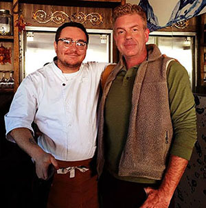 Chef Hari Cameron and Michael Sprouse during a filming of Coastal Cuisine.