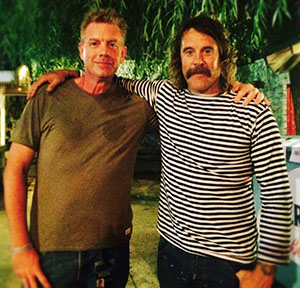 Michael Sprouse and legendary surfer/musician Donovan Frankenreiter during a filming of The A&E Report