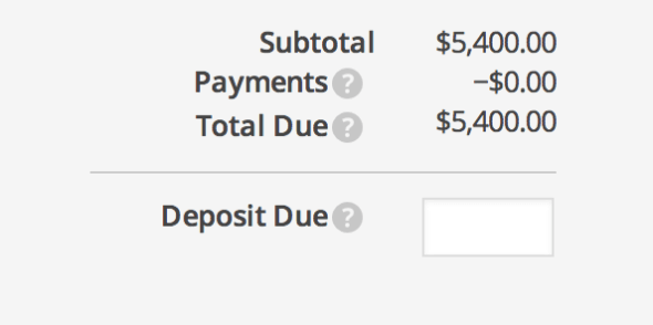 invoice deposit payment
