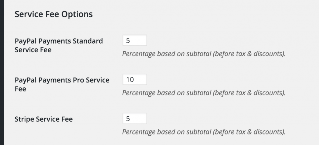 service fee options