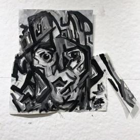 Charlotte b+w oil self portrait on paper