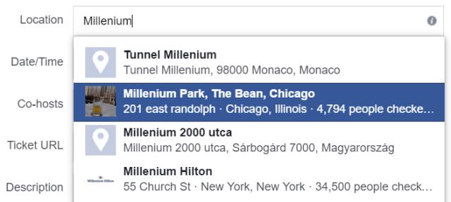 Facebook Events Location
