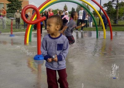 Children enjoying new Spruce Avenue spray park
