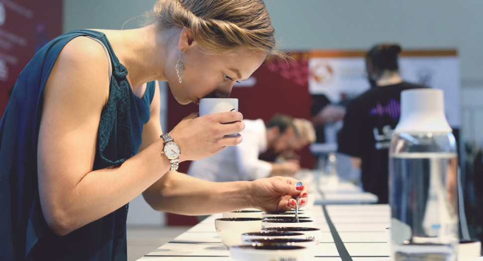 Esther Maasdam of Manhattan Coffee Roasters in The Netherlands deep in concentration.
