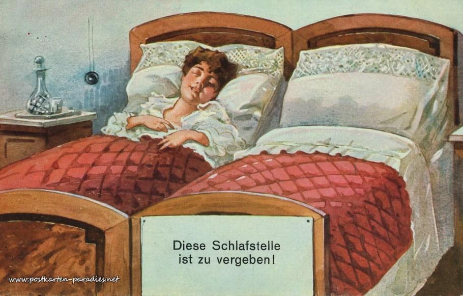 lustige alte Postkarte freie Schlafstelle