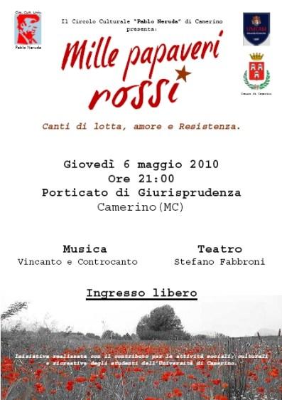 locandina spettacolo Mille papaveri Rossi 6 maggio 2010