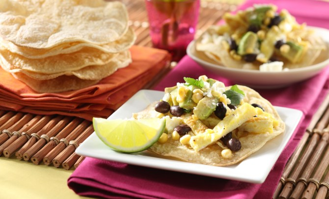 Omelet Nachos with Black Bean and Corn Salsa