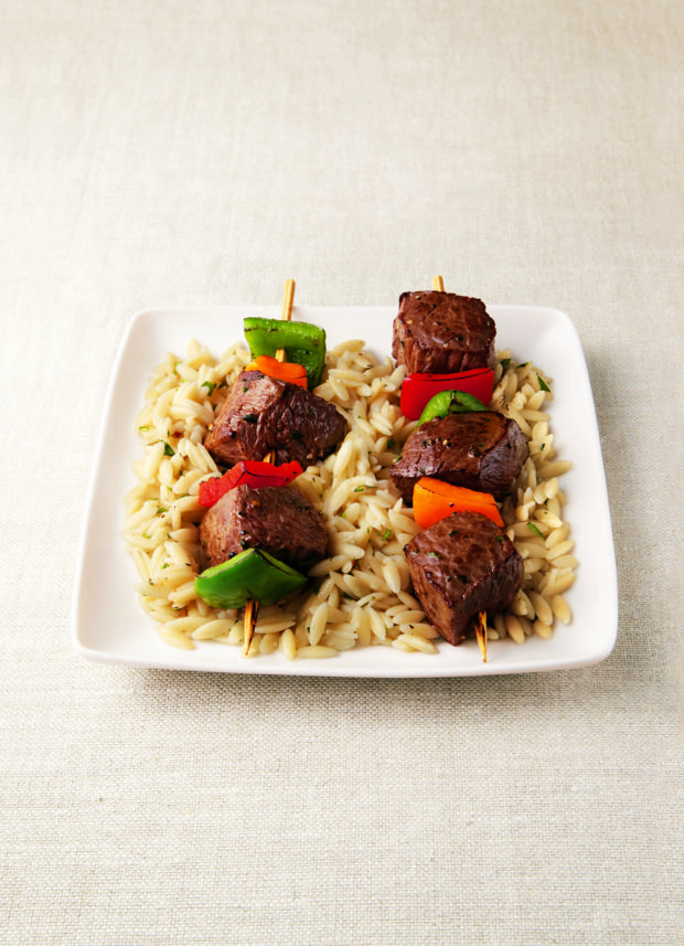 Sizzling Sirloin Kabobs on a Bed of Orzo