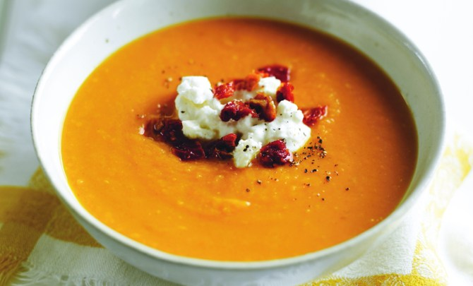 Sweet Potato and Cumin Soup With Feta Yogurt