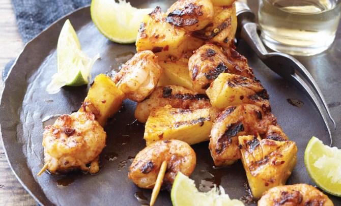 shrimp-pineapple-skewers-fire-island-cookbook-diet-recipe-eat-healthy-food-spry