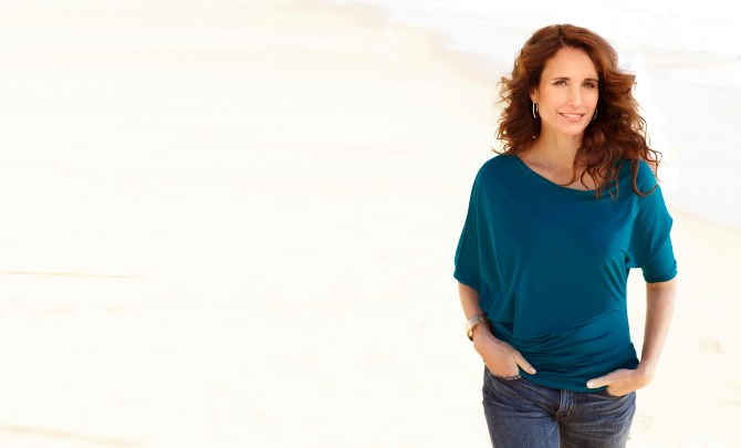 andie-macdowell-age-beauty-fit-exercise-young-heart-health-spry