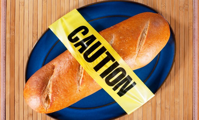 Bread on plate with Caution tape