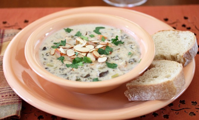 A healthy slow cooker recipe for Chicken and Wild Rice Soup.