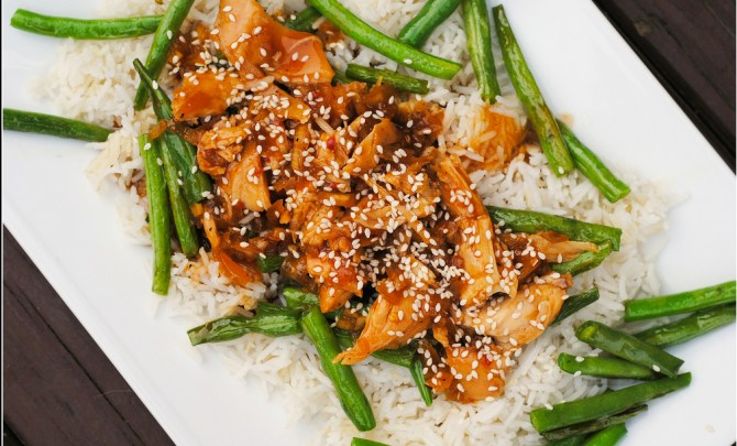 Sesame Chicken that's healthy and made in the Crock Pot.