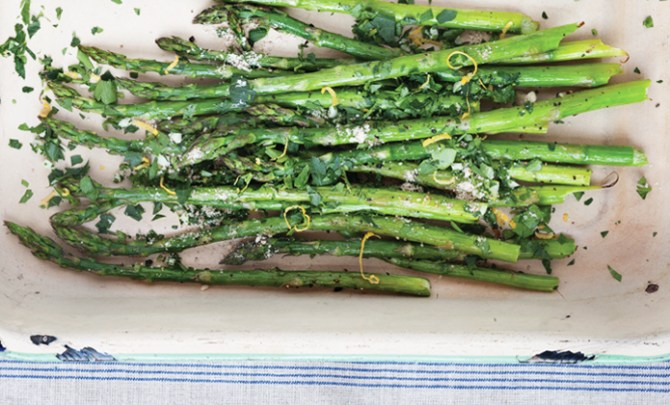 The Meatless Lover's Meatless Celebrations cookbook's Roasted Asparagus recipe.