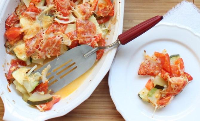 This Zucchini Tomato Gratin recipe is a healty casserole dish.
