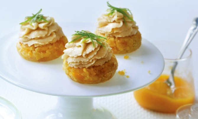 Apricot Cheesecake Cupcakes from the Raw Food Kitchen Cookbook.