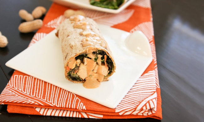 Peanut Chicken Kale Wraps recipe.