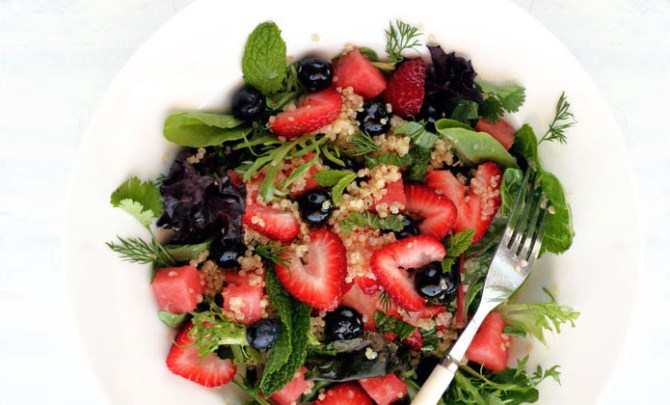 Quinoa Salad with Blueberries, Strawberries and Watermelon recipe.