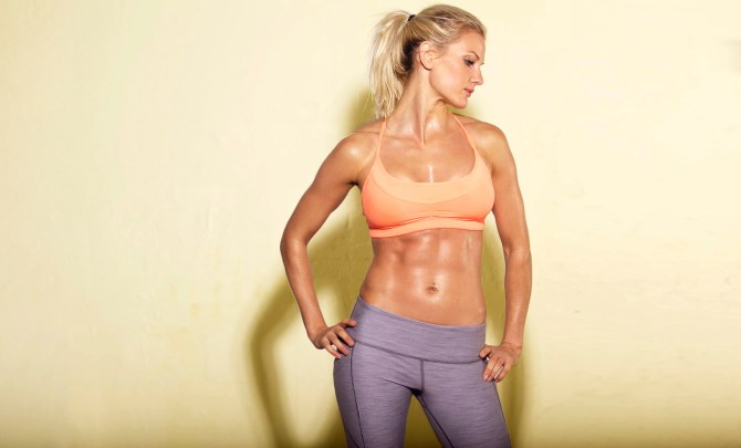 Woman with in shape abs.