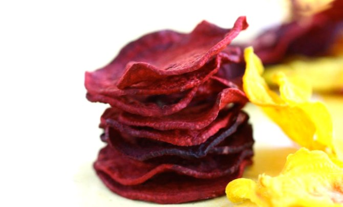 Recipe for Baked Beet Chips.