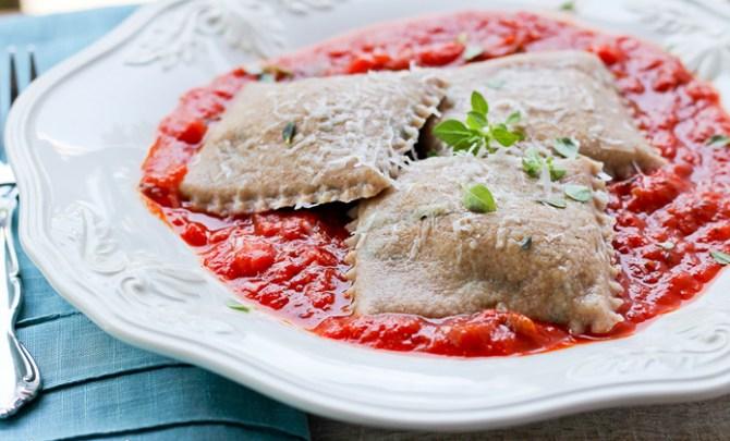 Recipe for Eggplant Spelt Ravioli.