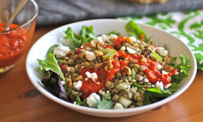 Lentil Salad with Roasted Red Pepper Dressing recipe.