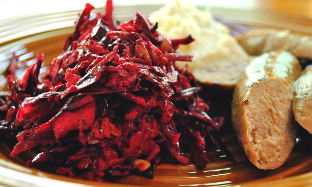 Recipe for Red Cabbage and Beet Slaw.